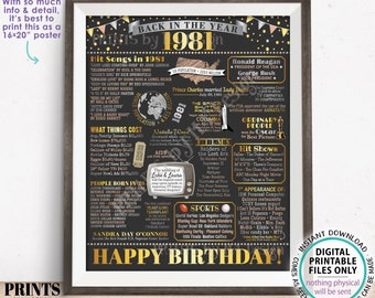 """Back in the Year 1981 Birthday Sign, Flashback to 1981 Poster Board, '81 B-day Gift, Bday Decoration, PRINTABLE 16x20"""" Sign <ID>"""