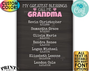 My Greatest Blessings Grandparent Gift, Grandma, Grandpa, Grandkids, PRINTABLE Chalkboard Style Grandchildren Sign <Edit Yourself w/Corjl>