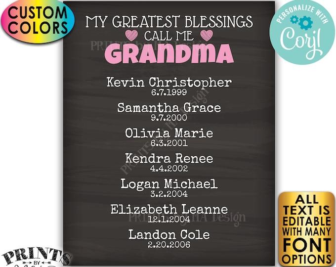 My Greatest Blessings Grandparent Gift, Grandma, Grandpa, Grandkids, PRINTABLE Chalkboard Style Grandchildren Sign <Edit Yourself w/Corjl>