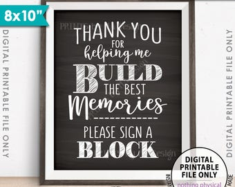 """Sign a Block Sign, Thank You for Helping Me Build Memories, Graduation Party, Retirement, Bon Voyage, Chalkboard Style PRINTABLE 8x10"""" <ID>"""