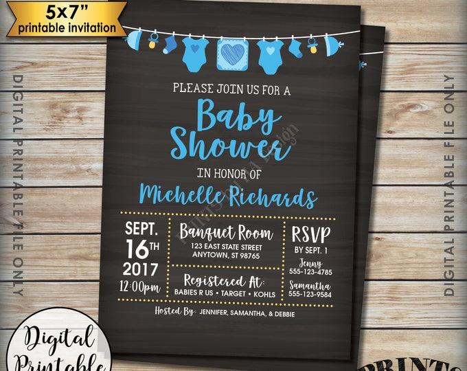 "Baby Shower Invitation, Baby Boy Blue Invitation, Clotheline Shower Invite, It's a Boy Invitation, 5x7"" Chalkboard Style Printable Invite"