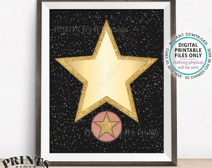 """Red Carpet Party Hollywood Star Sign, Blank Hollywood Movie Star, Glam VIP Party, Movie Night Ideas, Oscars, PRINTABLE 8.5x11"""" Digital File"""