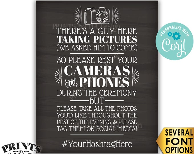 """Unplugged Wedding Ceremony, We Hired a Photographer & Asked Him to Come, PRINTABLE Chalkboard Style 16x20"""" Sign <Edit Yourself with Corjl>"""