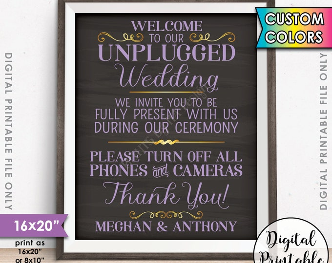 """Unplugged Wedding Sign, Unplugged Ceremony Sign, Unplugged Sign, No Phones, No Cameras, PRINTABLE 8x10/16x20"""" Chalkboard Style Sign"""