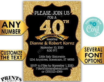 "Anniversary Party Invitation, Black & Gold Glitter Custom PRINTABLE 5x7"" Golden Anniversary Invite <Edit Yourself with Corjl>"