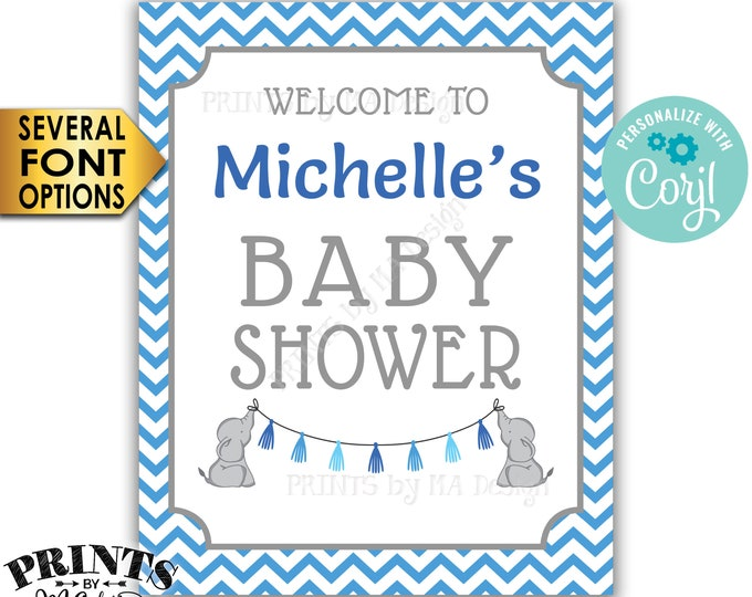 "Elephant Baby Shower Welcome Sign, PRINTABLE 16x20"" Baby Shower Sign,  It's a Boy Blue Chevron <Edit Yourself with Corjl>"