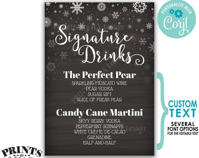 """Signature Drinks Sign, Christmas Party Cocktails, PRINTABLE 5x7"""" Chalkboard Style Bar Sign, Snowflakes, Holiday <Edit Yourself wtih Corjl>"""