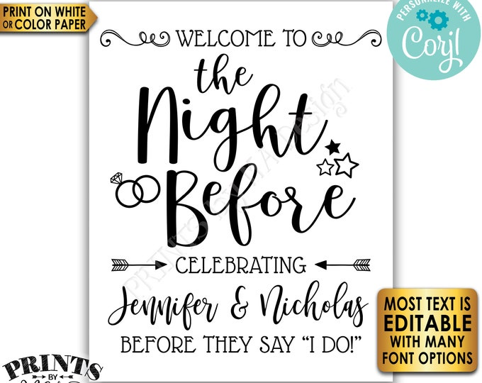 """Editable Rehearsal Dinner Sign, Welcome to the Night Before, PRINTABLE 8x10/16x20"""" Sign <Edit Yourself with Corjl>"""