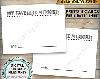"""Share a Memory Card, Share Memories, Write Your Favorite Memory, Birthday Party Activity, Retirement, PRINTABLE 8.5x11"""" Digital File <ID>"""