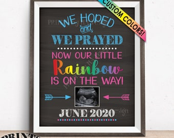 Rainbow Pregnancy Announcement after Loss, We Hoped and We Prayed and Now Our Little Rainbow is on the Way, Chalkboard Style PRINTABLE Sign