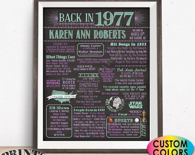 "1977 Birthday Flashback Poster, Back in 1977 Birthday Decorations, B-day Gift, Custom PRINTABLE 16x20"" Flashback Sign"