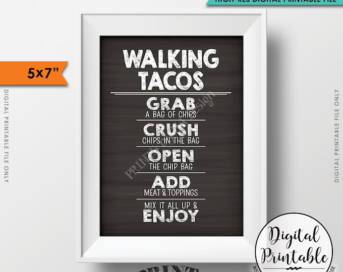 """Walking Tacos Sign, Taco Bar, Fiesta Cinco de Mayo Sweet Sixteen Birthday, 5x7"""" Chalkboard Style Instant Download Digital Printable"""
