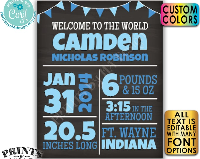 "Editable Newborn Stats, Birth Announcement, New Baby Nursery Wall Art, Chalkboard Style PRINTABLE 8x10/16x20"" Sign <Edit Yourself w/Corjl>"
