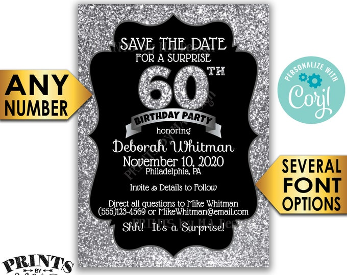 "Silver Glitter Surprise Birthday Party Save the Date, Black & Silver PRINTABLE 5x7"" Bday STD Invite Card, <Edit Yourself with Corjl>"