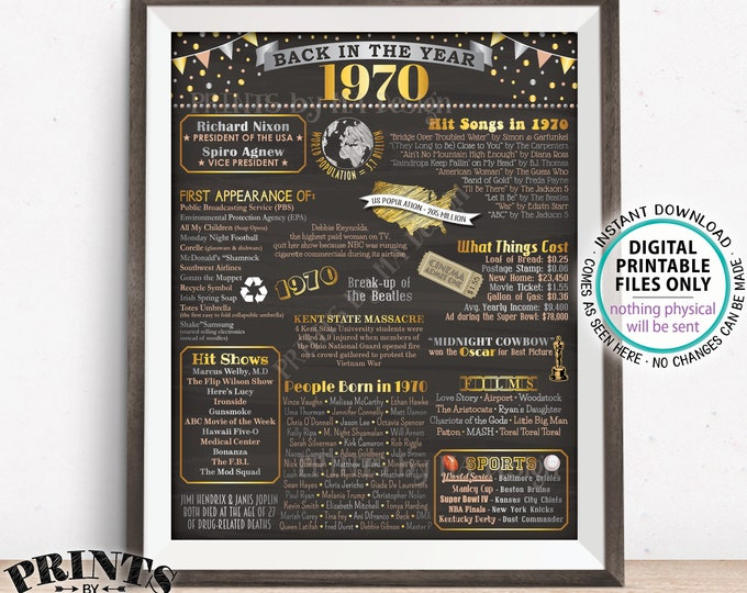 """Back in 1970 Poster, Flashback to 1970 USA History, Remember 1970 Birthday Anniversary Reunion, PRINTABLE 16x20"""" Sign <ID>"""