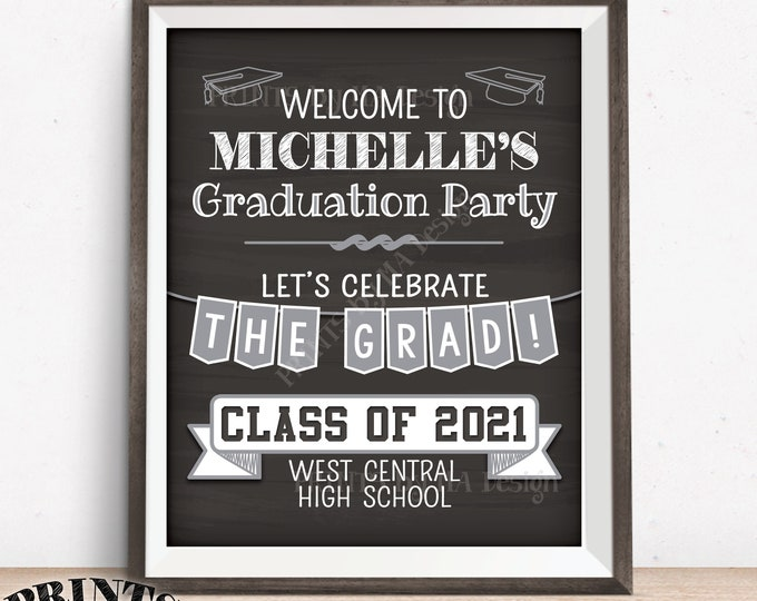 "Graduation Party Welcome Sign, Welcome to the Graduation Party Decorations, PRINTABLE 16x20"" Chalkboard Style Grad Party Poster"