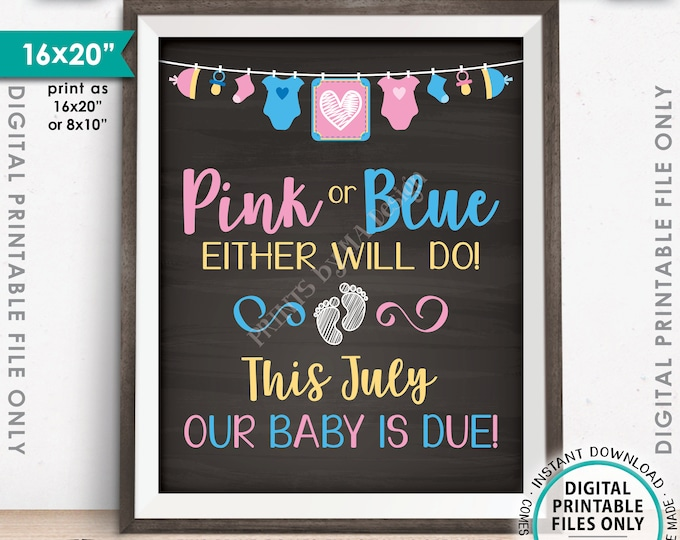 July Pregnancy Announcement Sign, Pink or Blue Either Will Do Baby is Due in JULY Dated Chalkboard Style PRINTABLE Baby Reveal Sign <ID>