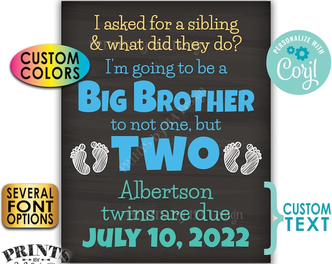 """I'm Going to be a Big Brother to Twins Pregnancy Announcement, PRINTABLE 8x10/16x20"""" Chalkboard Style Twins Sign <Edit Yourself with Corjl>"""