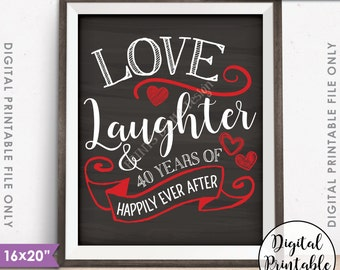 "40th Anniversary Gift, Love Laughter Happily Ever After 40 Years of Marriage, Ruby, Instant Download 8x10/16x20"" Chalkboard Style Printable"
