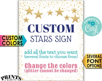 "Custom Stars Sign, Twinkle Twinkle, Choose Your Text and Colors, One PRINTABLE 8x10/16x20"" Portrait Sign <Edit Yourself with Corjl>"