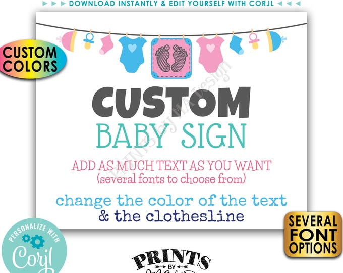 """Custom Baby Sign, Baby Shower, Baby Clothesline, Choose Your Text, One PRINTABLE 8x10/16x20"""" Landscape Sign <Edit Yourself with Corjl>"""