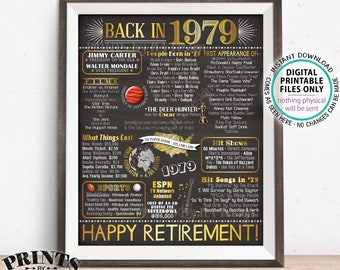 "Retirement Party Decorations, Back in 1979 Poster, Flashback to 1979 Retirement Party Decor, Chalkboard Style PRINTABLE 16x20"" Sign <ID>"