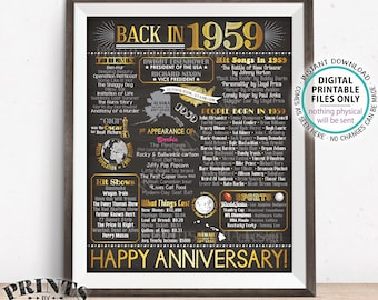 """1959 Anniversary Poster, Back in 1959 Anniversary Gift, Flashback to 1959 Party Decoration, PRINTABLE 8x10/16x20"""" Chalkboard Style Sign <ID>"""
