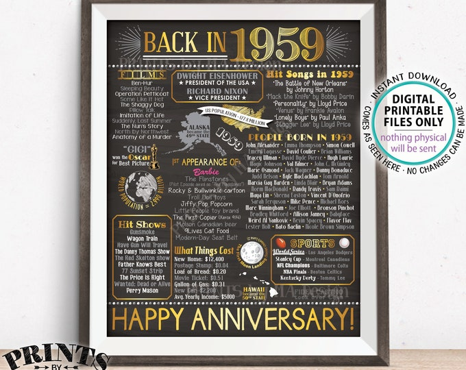 "1959 Anniversary Poster, Back in 1959 Anniversary Gift, Flashback to 1959 Party Decoration, PRINTABLE 8x10/16x20"" Chalkboard Style Sign <ID>"