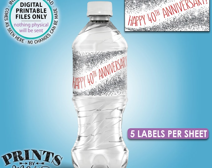 """40th Anniversary Water Bottle Labels, Ruby Red & Silver Glitter Party Decor, Five Labels per 8.5x11"""" Sheet, Digital PRINTABLE File <ID>"""
