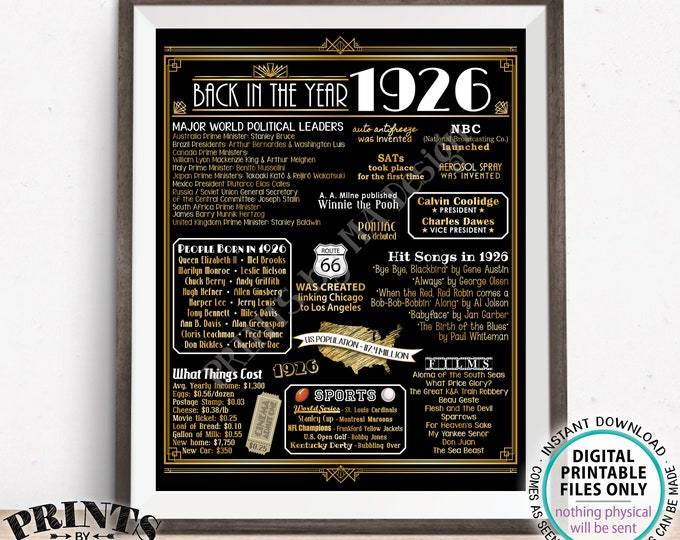 "Back in the Year 1926 Poster Board, Remember 1926, Flashback to 1926 USA History from 1926, PRINTABLE 16x20"" Art Deco Sign <ID>"