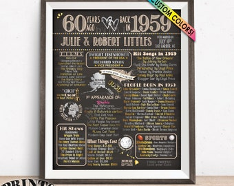 "60th Anniversary Poster, Flashback to 1959 Anniversary Party Decor, Married in 1959, Custom PRINTABLE 16x20"" 1959 Sign"