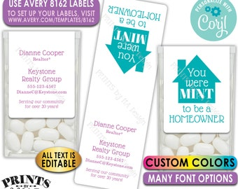 Realtor Tic Tac Labels, Custom Real Estate Mint Stickers, Mint to be a Homeowner, One PRINTABLE Avery 8162 Label <Edit Yourself with Corjl>