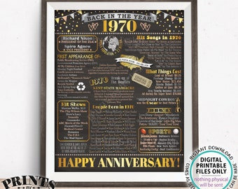 """Back in 1970 Anniversary Sign, Flashback to 1970 Anniversary Decor, Anniversary Gift, PRINTABLE 16x20"""" Poster Board <ID>"""