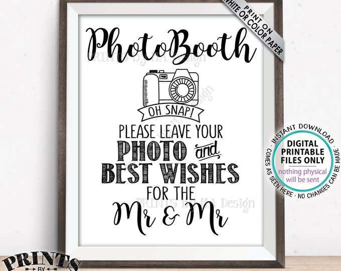 "Gay Wedding Photobooth Sign, Leave Photo and Best Wishes for the Mr & Mr, Gay Marriage Guestbook Sign, PRINTABLE 8x10/16x20"" Sign <ID>"