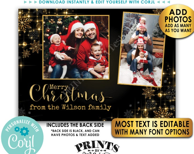 "Custom Christmas Card with Photos, Merry Christmas, Custom 2-sided PRINTABLE 5x7"" Black & Gold Glitter Card <Edit Yourself w/Corjl>"