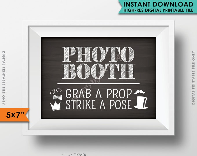 Photobooth Sign, Grab a prop & Strike a Pose, Photo Booth Chalkboard, Wedding Birthday Graduation Party, Instant Download Digital Printable