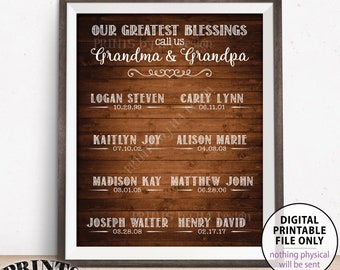 Our Greatest Blessings Grandchildren Sign, Custom Gift for Grandparents Gift, List of Grandkids, Custom PRINTABLE Rustic Wood Style Sign