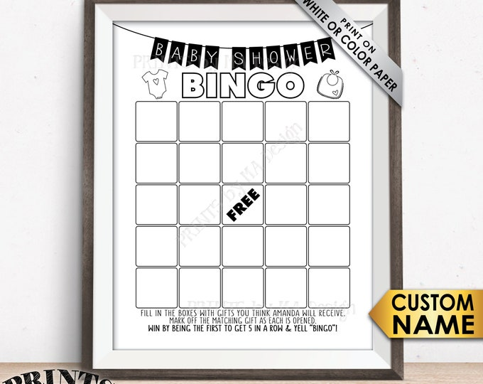 "Baby Shower Bingo Game, Bingo Baby Shower Game, CUSTOM NAME, Print As Many As You Need on White or Color, PRINTABLE 8.5x11"" Baby Bingo Game"