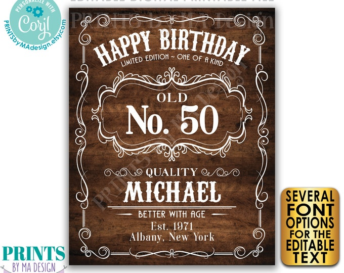 "Happy Birthday Sign, Vintage Whiskey Themed Better with Age Birthday Poster, PRINTABLE 16x20"" Rustic Wood Style Sign <Edit Yourself w/Corjl>"