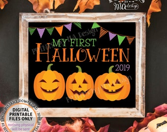 "My First Halloween Sign, Baby's 1st Halloween Photo Prop, Pumpkins, Autumn, Black and Orange, PRINTABLE 8x10/16x20"" Halloween 2019 Sign <ID>"