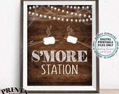 S 39 more Station Sign, Smore Station, Roast Marshmallows, Toast S 39 mores Bar, Campfire, PRINTABLE 8x10 Rustic Wood Style Sign ID