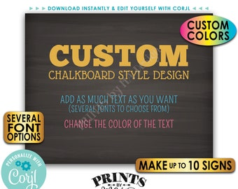 "Custom Posters, Choose Your Text, Change Colors, Up to 10 PRINTABLE 8x10/16x20"" Chalkboard Style Landscape Signs <Edit Yourself with Corjl>"