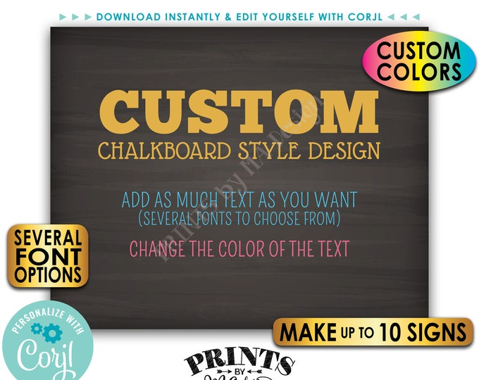 """Custom Posters, Choose Your Text, Change Colors, Up to 10 PRINTABLE 8x10/16x20"""" Chalkboard Style Landscape Signs <Edit Yourself with Corjl>"""