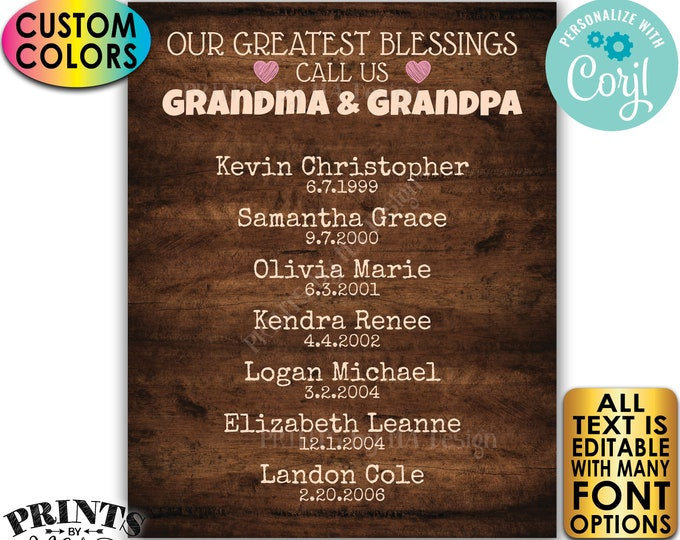 Our Greatest Blessings Grandparent Gift, Grandma Grandpa, Grandkids, PRINTABLE Rustic Wood Style Grandchildren Sign <Edit Yourself w/Corjl>