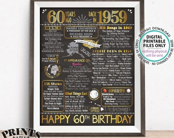 "60th Birthday Gift, Flashback 60 Years Ago Back in 1959 Born in 1959 Birthday, Gold, PRINTABLE 16x20"" B-day Sign <ID>"