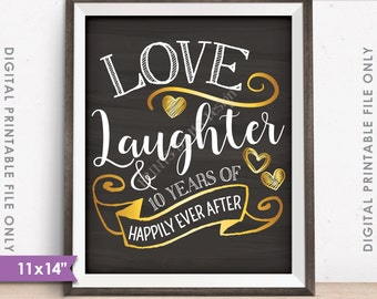 """10th Anniversary Gift, Love Laughter Happily Ever After 10 Years of Marriage Milestones, 11x14"""" Instant Download Digital Printable File"""