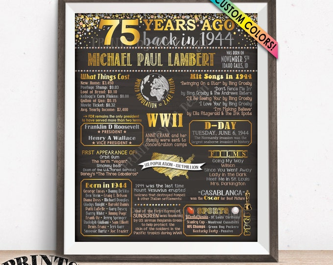 "Back in 1944 Sign, 75th Birthday Born in 1944 Poster Board, Flashback 75 Yrs B-day Gift, Custom PRINTABLE 16x20"" Sign"