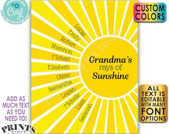 "Editable Grandchildren Sign, List of Grandkids are Rays of Sunshine, Grandparents Gift, PRINTABLE 8x10/16x20"" Sign <Edit Yourself w/Corjl>"