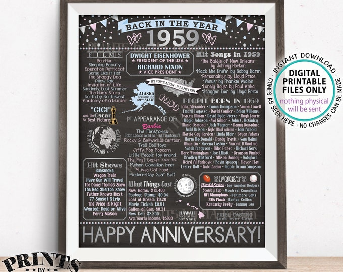 """Back in 1959 Anniversary Poster Board, Flashback to 1959, Silver Anniversary Gift, PRINTABLE 16x20"""" Sign, Party Decor <ID>"""