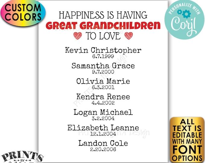 Great Grandparent Gift, List of Great Grandkids, Great Grandparents Sign, PRINTABLE Great Grandchildren Sign <Edit Yourself w/Corjl>